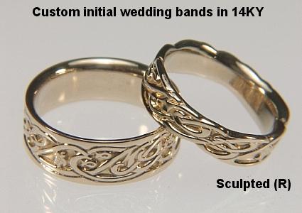 initial wedding rings unique monogram wedding rings commitment promise - Bohemian Wedding Rings