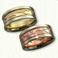 Custom Two Tone Teton Mountain Range Wedding Bands