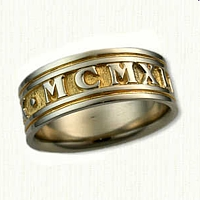 14kt White Gold Roman Numeral Band - 1949
