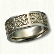 #14: 14kt yellow Forget-Me-Not Wedding Band