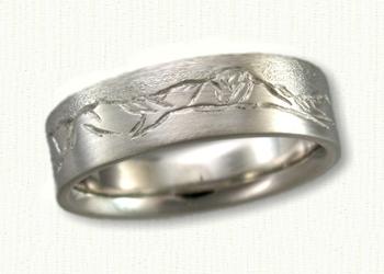 Custom Hand Engraved Mountain Range Band