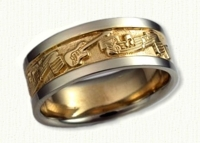 Custom Story Wedding Bands in gold and platinum