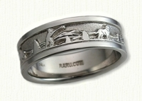 Story Band Wedding Rings in gold and platinum