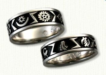 african adinkra symbols bands - African Wedding Rings