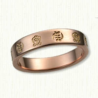 14kt Rose Gold Custom Symbolic Band Gye nyame and Odo nnyew fie kwan repeated around the band