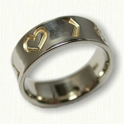 Custom African Reverse Etch wedding band with 4 symbols