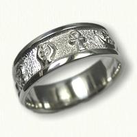 Sterling Silver Custom African Symbol Wedding Band -