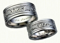 Latin Posey Wedding Rings in 14kt two tone gold - regular etch