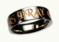 Religious Themed Wedding Rings in gold and platinum