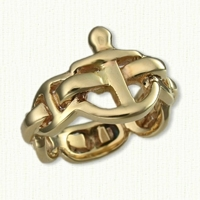 Custom 14kt yellow gold Anchor Ring