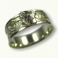 14kt Green Gold Custom Stag Band with Raised White Gold Raised Stag
