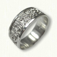Custom Sterling Silver Arabic Wedding Band - 8.0 mm width