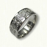 Platinum Intricate Byzantine Band with Rails - 8.0 mm width