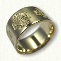 18kt Yellow Gold Byzantine Cross band - reverse etch - 10.0 mm width