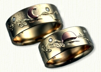 Custom Mountain Range Wedding Bands Affordable unique gold ring