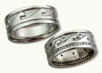 Nautical Themed Wedding Bands in gold and platinum