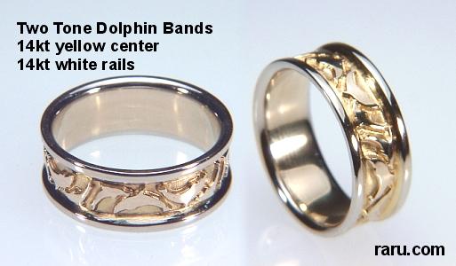 tone dolphin band 14kt yellow centerwhite rails - Dolphin Wedding Rings