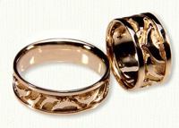 18kt yellow gold Dolphin wedding bands