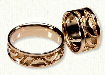 18kt yellow gold dolphin wedding bands - Dolphin Wedding Rings