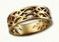#28: 14kt yellow pierced Elmvale Vine Wedding Band