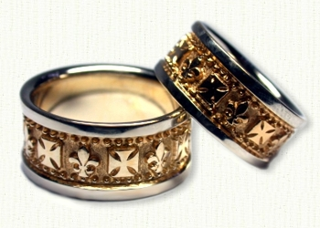 fleur de lis crest wedding bands - German Wedding Rings