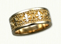 Fleur de lis Wedding Bands in gold and platinum