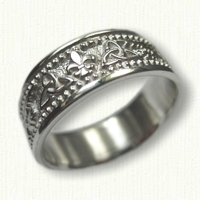 Custom Celtic Triangle Knot & Fleur de Lis Wedding Band - Sterling Silver