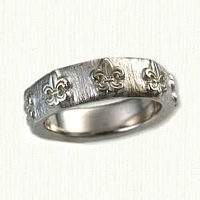 14k White Gold Custom Fleur-de-Lis Band
