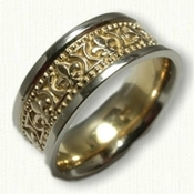 14kt Two Tone Fleur de Lis Wedding Band