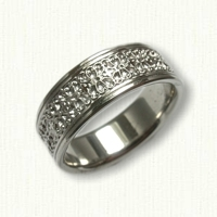French Quarter Fleur de Lis Wedding Band in Platinum