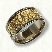14kt Two Tone Fleur De Lis Wedding Band - 10 mm wide