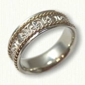 14kt White Gold Fleur de Lis with 14kt Yellow Rope Wedding Band