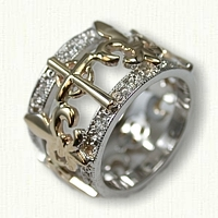 Custom Cross and Fleur-de-lis wedding band set with 16 -.02ct diamonds