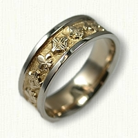 14kt Two Tone Gold Celtic Crosses with Fleur De Lis Wedding Band