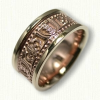 14kt Rose and Yellow Gold Custom Family Crest and Fleur de Lis Wedding Band