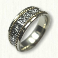 14kt Two Tone Custom Fleur De Lis Wedding Band