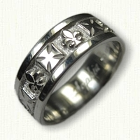 Sterling Silver Maltese Cross and Fleur de Lis Wedding Band