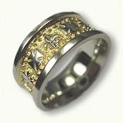 14kt White Gold Fleur de Lis & Maltese Cross Wedding Band