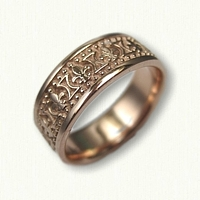 14kt Rose Gold Fleur De Lis Wedding Band - regular etch