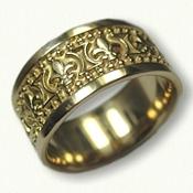 18kt Yellow Gold Fleur De lis Wedding Band - regular etch-10 mm width