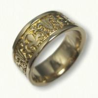 14kt Yellow Gold Fleur De Lis & Cornice Wedding Band