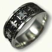 Sterling Silver Antiqued Maltese Cross and Fleur de lis band with beads