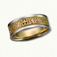 14kt Two Tone Custom Fleur de Lis, Rampant Lion and Cross Wedding Band