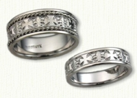 Fleur de Lis & Cross wedding bands