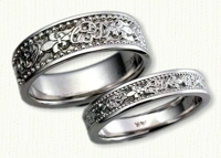 Custom Fleur-de-lis & Initials wedding bands