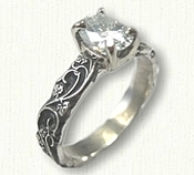 #75:Palladium Floral Engagement Ring set with Customers Stone