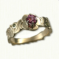 #33: Custom Floral Tapered Ring with 3 Stones