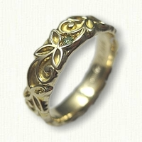 #51:14kt Yellow Gold Sculpted Tri Leaf Wedding Band set with green diamonds