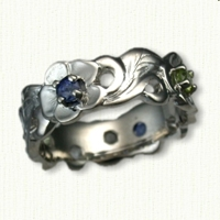 #34: Custom Pierced Floral Band set with purple sapphires and peridots