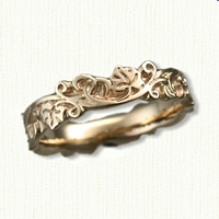 #35:14kt Yellow Gold Sculpted Ivy Knot Band